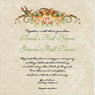 Vintage Rose n birds, Wedding Invitation invitation