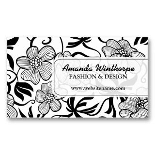 Elegant Floral Black White Pattern Business Cards