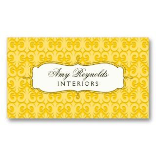 Stylish Damask Yellow Business Cards