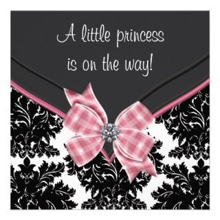 Black Damask Pink Bow Princess Baby Shower Custom Announcement