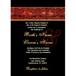 Red Black Gold Vintage Birds Wedding Custom Invites