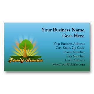 Custom Family Reunion, Green Tree with Sun Rays Business Card Template