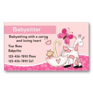 Printable Babysitting Business Cards on PopScreen
