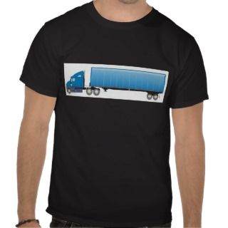 Semi Truck Trailer Blue T Shirt