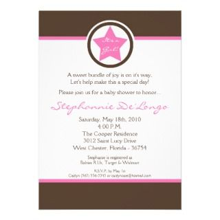 5x7 Light Pink Rock Star Baby Shower Invitation