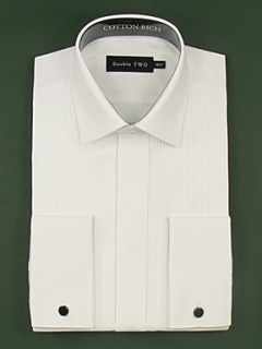 Double TWO Ribbed pique dress shirt White