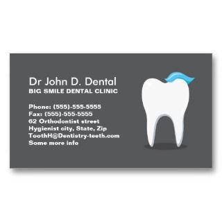 Dentist dental business card with toothpaste tooth