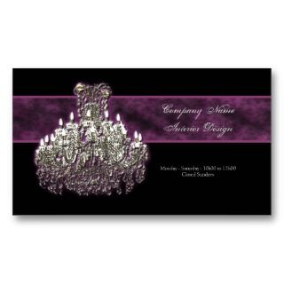 Chandelier interior decorator business card templates