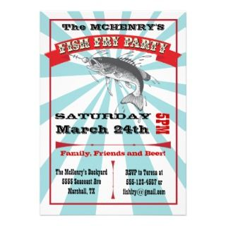 fish fry invitations done in a poster style with an vintage clipart