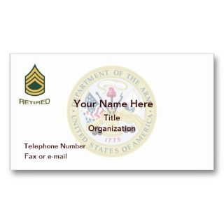Army Sergeant First Class Retired Business Card