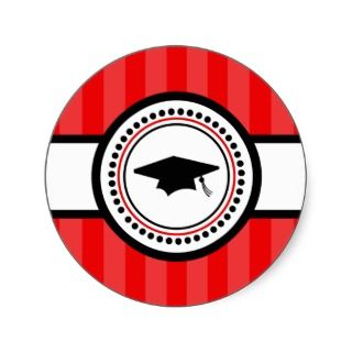 Graduation Cap Stripes Label (Red) Round Sticker