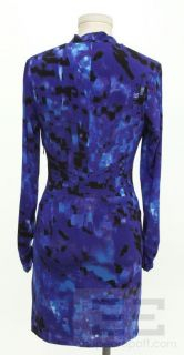Karen Millen Purple Blue Print Knit Long Sleeve Dress Size 6