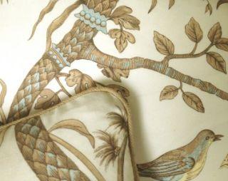 Brunschwig Fils Print Fabric Custom Designer Throw Pillows Birds 2 New