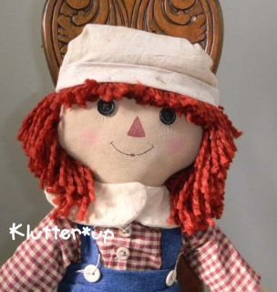 Country Primitive Prim Fabric Raggedy Andy Boy Doll 20
