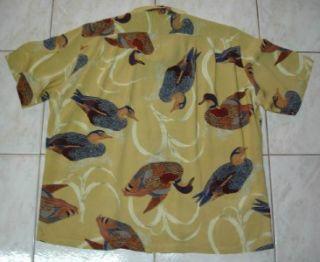 Vtg Karl Helmut Teal Prints Rayon Hawaiian Shirt Sz L