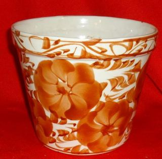 Stoneware Flower Pot Planter Indoor Outdoor White Brown Flowers