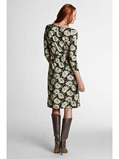 Lands End Women`s floral print crepe jersey wrap dress Green   House