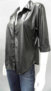 Kathy Ireland Ladies Womens Shiny 3 4 Sleeve Button Down Top Sz L