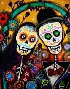 Folk Art Day of The Dead Wedding Valentine Needlepoint Canvas