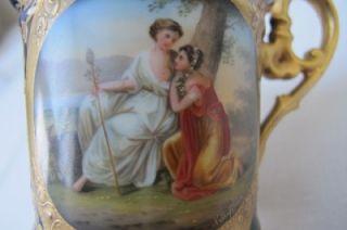 Royal Vienna Porcelain Handpainted Kauffmann Signed Cup Saucer