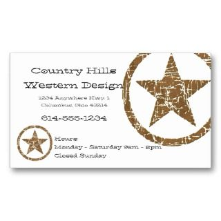 Country Western Star/Badge Business Card