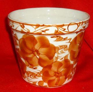 Stoneware Flower Pot Planter Indoor Outdoor White Brown Flowers