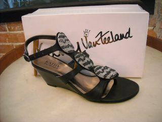 Kathy Van Zeeland Goldie Black Jeweled Wedge Sandal New