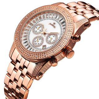 JBW Justbling Men 0 20ct Diamond Watch JB 6219 M Stainless Steel Rose
