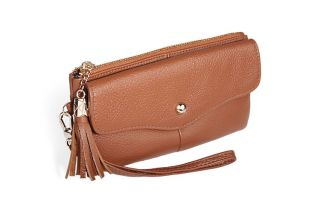 Womens Designer Inspired Nice Long Wallet Clutch Purse Brown