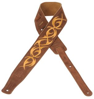 Levys 2.5 Brown Embroidered Suede Leather Guitar/Bass Strap   Tribal