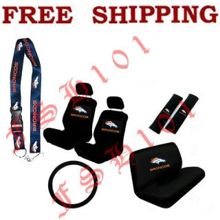 New NFL Denver Broncos Car Seat Covers Steering Wheel Cover & Lanyard