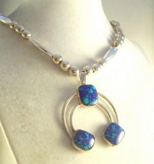 Artisan Kay Johnson Azurite Sterling Silver Necklace Earrings Set