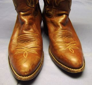Beautiful Pair of Justin Brown Leather Ladies Cowboy Western Boots Sz
