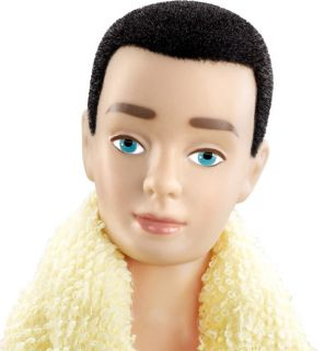 Ken Barbie Doll Vintage Reproduction 1961 Black Fuzzy Flock Hair My