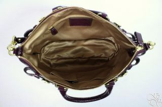 Coach Madison Patent Leather Sophia Plum Purple Satchel Bag Purse $378