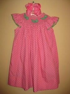 Kellys Kids Smocked Whale Pink Polka Dot Bishop Dress, size xxs/2t
