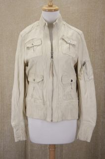 New Kenna T Ribbed Trim Leather Bomber Jacket Extra Large XL Egg Shell