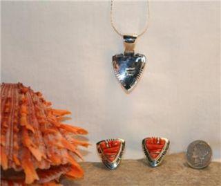 Navajo Orange Spiny Oyster Sterling Silver Arrow Earrings Pendant Set