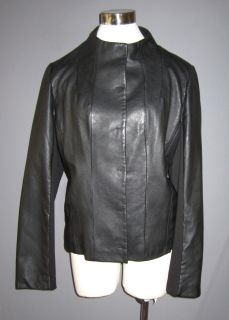 XL Kenneth Cole Black Leather Jacket with Partial Knit Sleeves