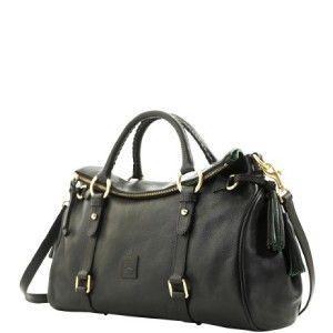 Dooney Bourke Black Florentine Vachetta Leather Large Satchel Handbag