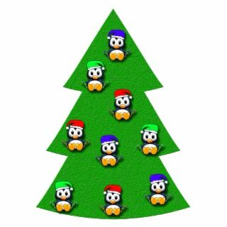 Cute Christmas Tree with Cartoon Penguin Ornaments Photo Cut Outs