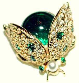 Vintage Designer Emerald Green Crystal Ladybug Pin Sphinx for Carnegie