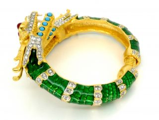 Kenneth Jay Lane KJL Green Enamel Dragon Bracelet