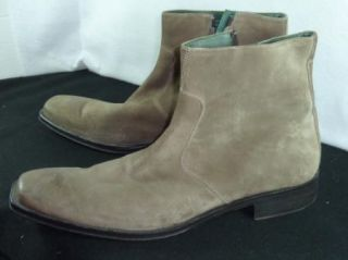 Mens Kenneth Cole New York Mens Suede Brown Zipper Boots 14 M