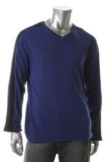 Kenneth Cole New Give Me A V Blue V Neck Pullover Sweater L BHFO