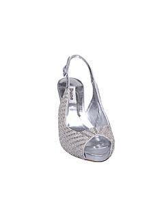 Dune Didian d beaded mid heel slingback sandals Silver   House of Fraser