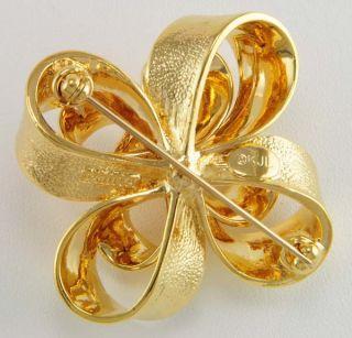 Kenneth J Lane 14kt Yellow Gold EP 3 D Festive Bow Designer Pin KJL