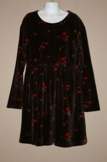 Girls Gap Black Velvet Velour Dress Red Flowers Size M 7 8 Warm