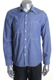 Kenneth Cole Reaction New Utility Bill Blue Long Sleeve Button Down
