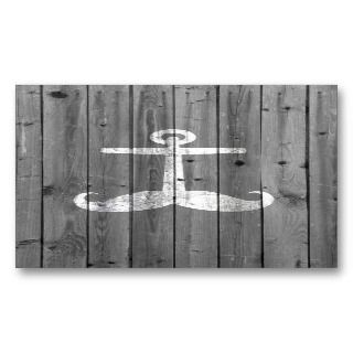 mustache anchor on retro gray wood business cards